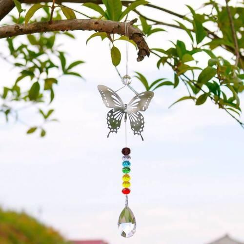 Rainbow Butterfly Suncatcher Crystal Prism Ball Colorful Garden Decor Handmade