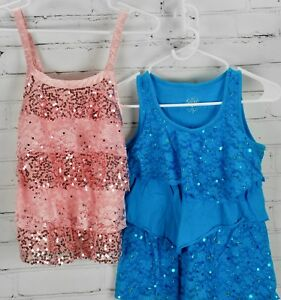 4382cf580f051 JUSTICE Ruffle Sequin Tank Tops Shimmer Lace Shirts Girls Sz 12 Pink ...