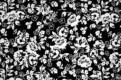 FQ White Rose Vine Flower on Black Vintage Style 100% Cotton Fabric ~ Free S&H