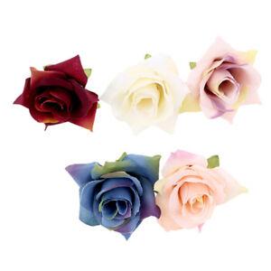 10 Pcs Artificial Rose Flowers DIY Wreath Scrapbook Bride Bouquet Home Car Decor