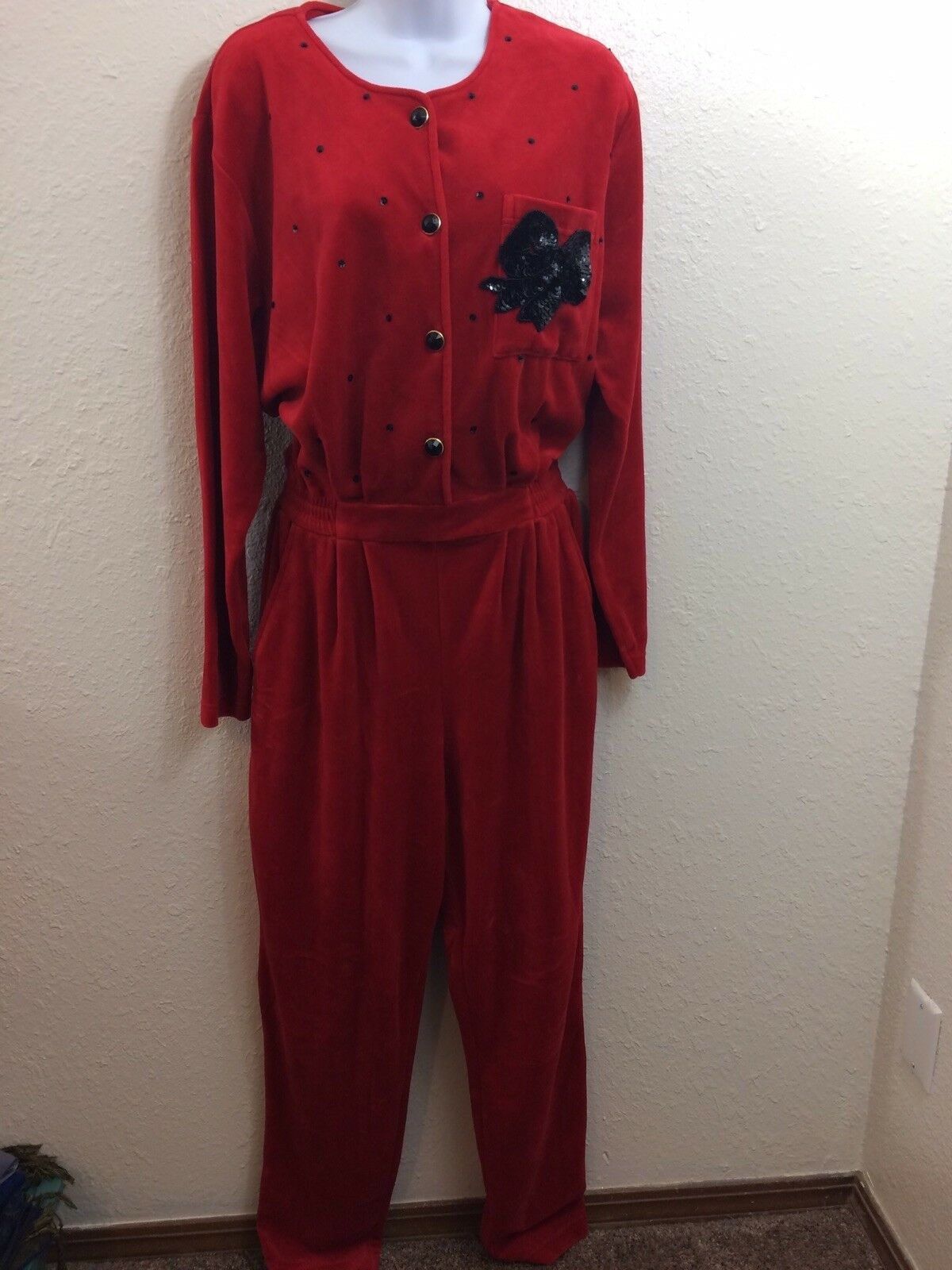 Ugly Christmas Suit Womens Size Medium Jumpsuit Red Velour Sk & Co Holiday