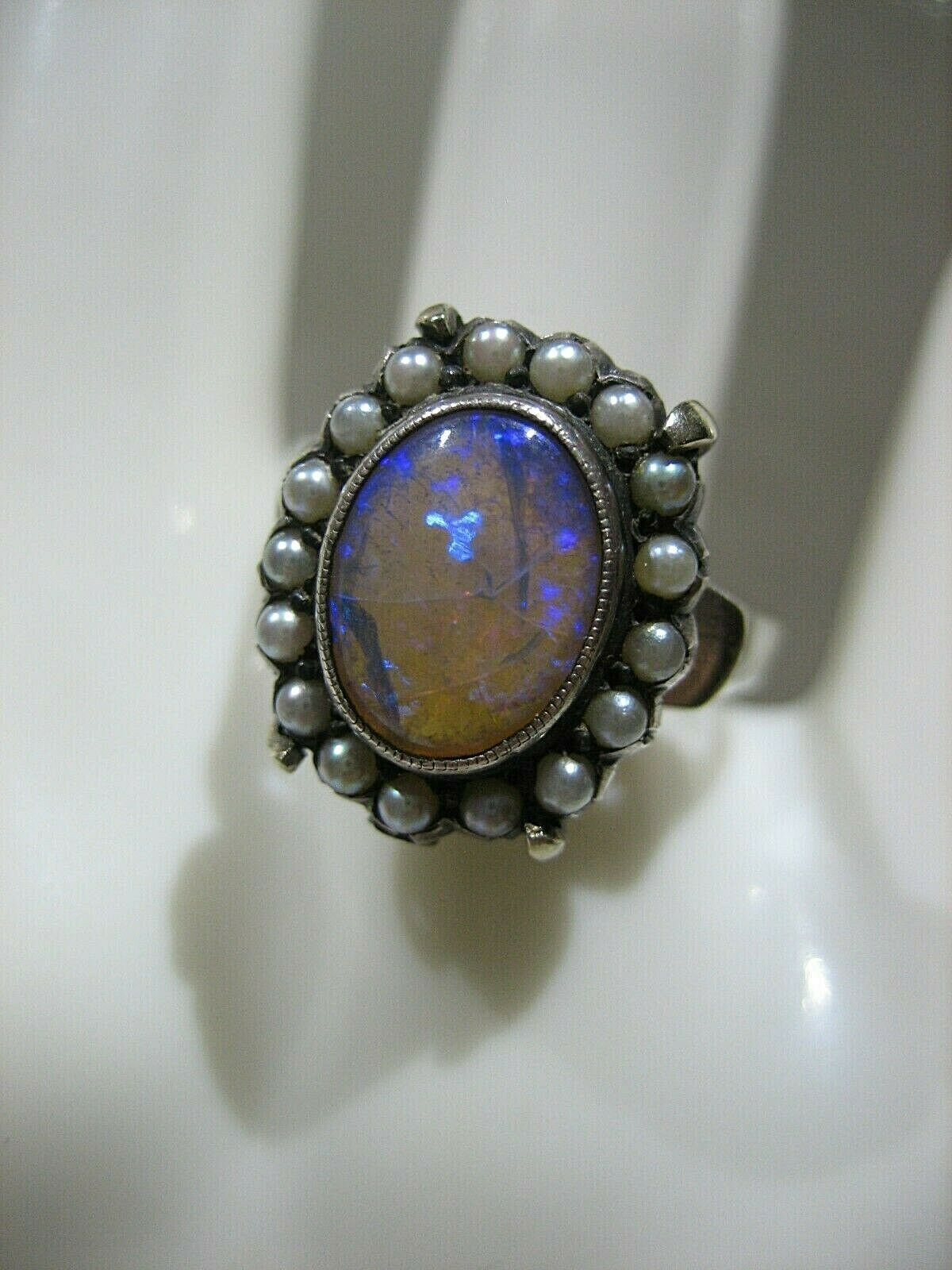 ESTATE VICTORIAN 14K WHITE GOLD OPAL AND SEED PEA… - image 3