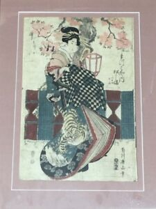 Genuine woodprint painting of geishas can