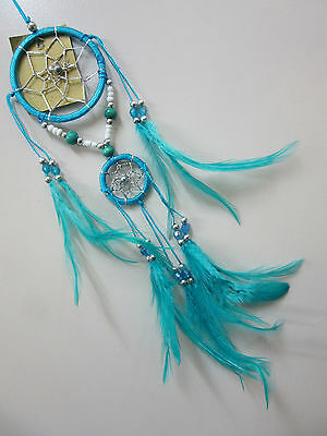 Nylon Turquoise Handmade 6cm Silver Web Dream Catcher 37cm Total Length