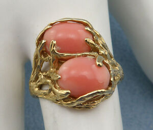 Vintage-Beautiful-Genuine-Double-Coral-Cocktail-Ring-Size7-5-14K-Yellow-Gold