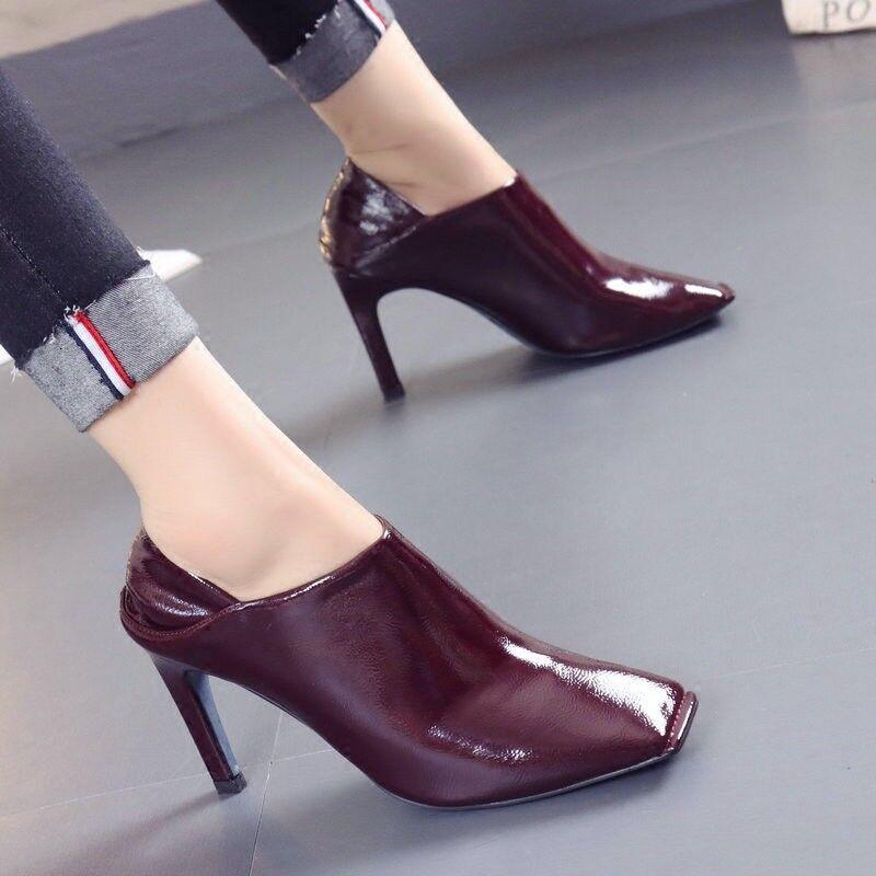 Zapatos De Cuero Retro para Mujer Mujer Mujer de Tacón Alto Sexy mulas Puntera Cuadrada Zapatos Tacones De Aguja  entrega gratis
