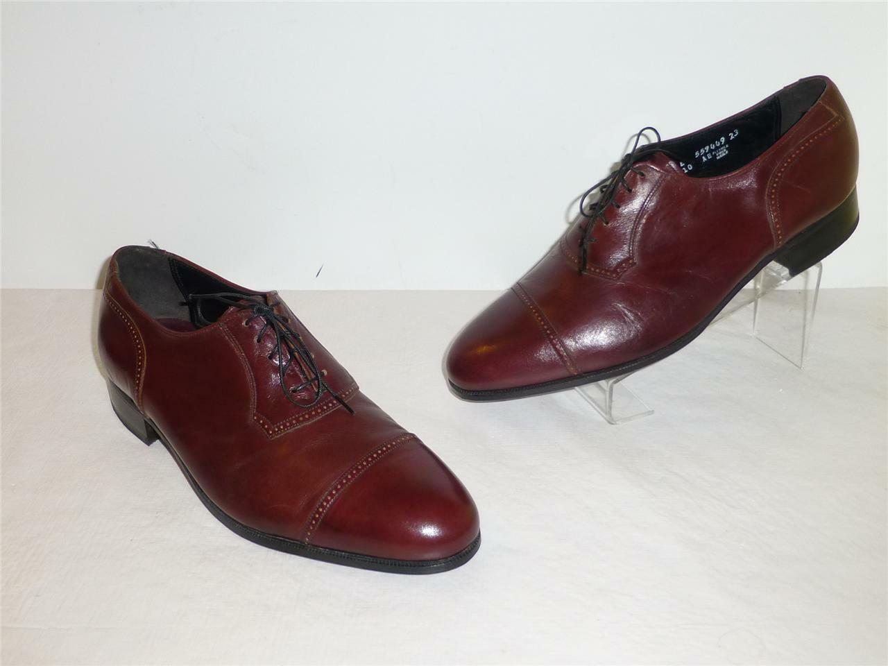 Florsheim Designer Collection Burgundy Leather Thin Lace Formal Oxfords 9.5E ONS