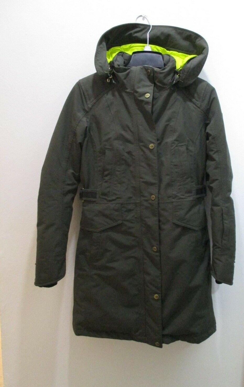 North Face women's winter coat CC06 neon Olive green S P Made in Indonesia