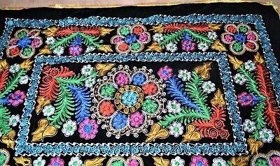 Neu Suzani 240cmx175cm Schwarzer Samt Mit Blumenmotiv Usbekistan Stickerei