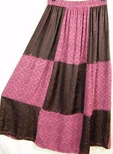 Sk242-Tienda-Ho-PINK-Patchwork-EMBROIDERED-Rayon-FLORAL-Maxi-Skirt-OS-M-L-XL-1X