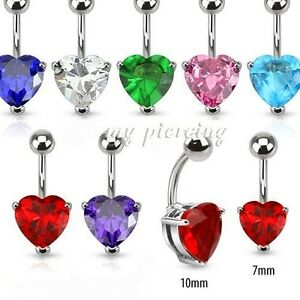"""Prong Set Heart 7mm & 10mm C.z Fashion Jewelry Gem 14g~3/8"""" 316l Surgical Steel Navel Ring Comfortable Feel"""