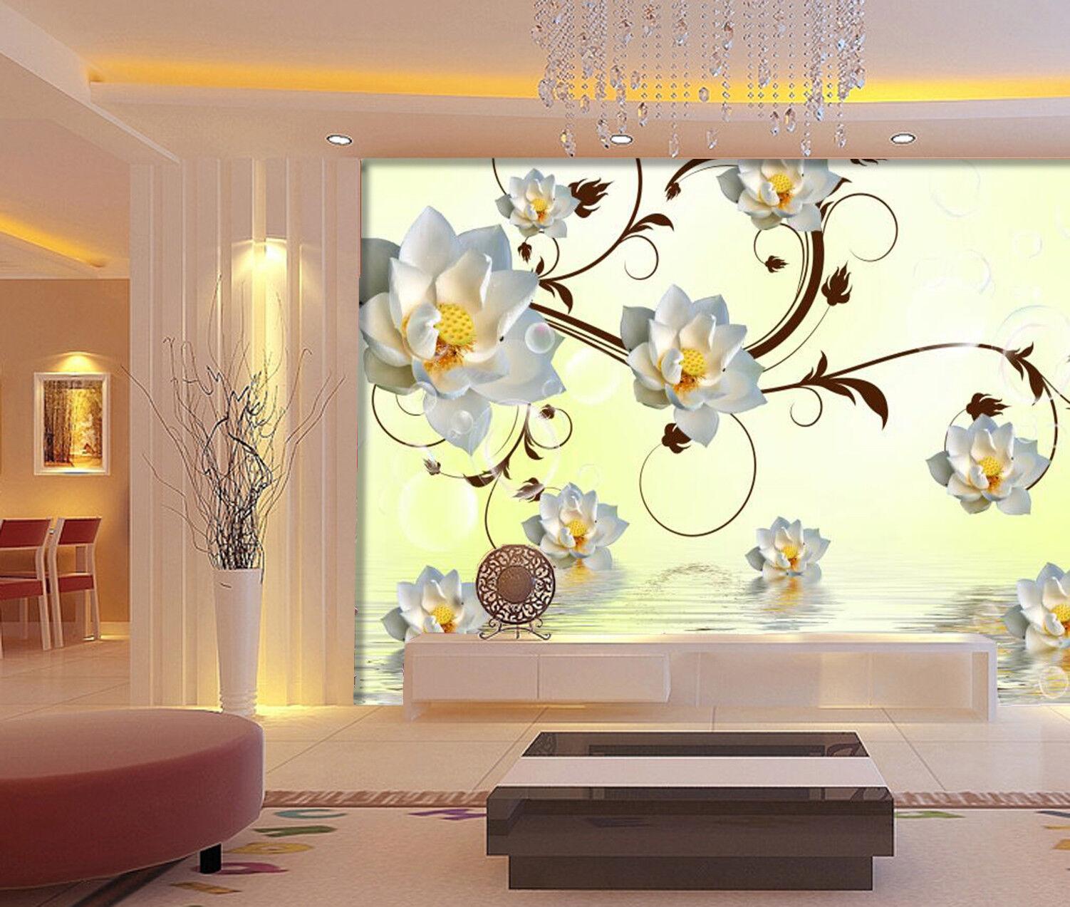 3D Lotus Leaves 728 Wallpaper Mural Paper Wall Print Wallpaper Murals UK