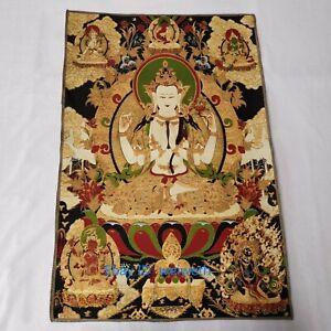 "36""Tibetan Silk Hand embroidery Buddha of Nepal Thangka Tara Statue #4"