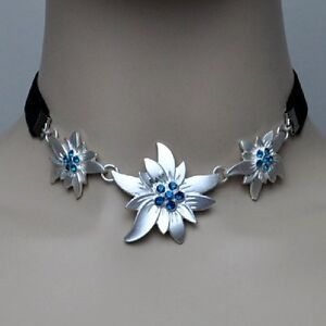 Details zu EDELWEISS Kette Halskette Trachten Schmuck Kropfband TÜRKIS BLAU schwarz Collier