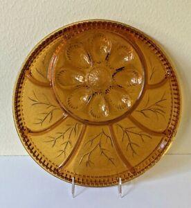 INDIANA-GLASS-TIARA-Tree-Of-Life-Amber-Gold-Plate-Deviled-Egg-Relish-VINTAGE-EUC