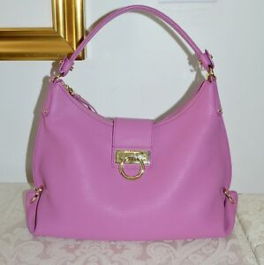 108ef13093 Image is loading NWOT-1750-Salvatore-Ferragamo-Sm-FANISA-Pebbled-Leather-