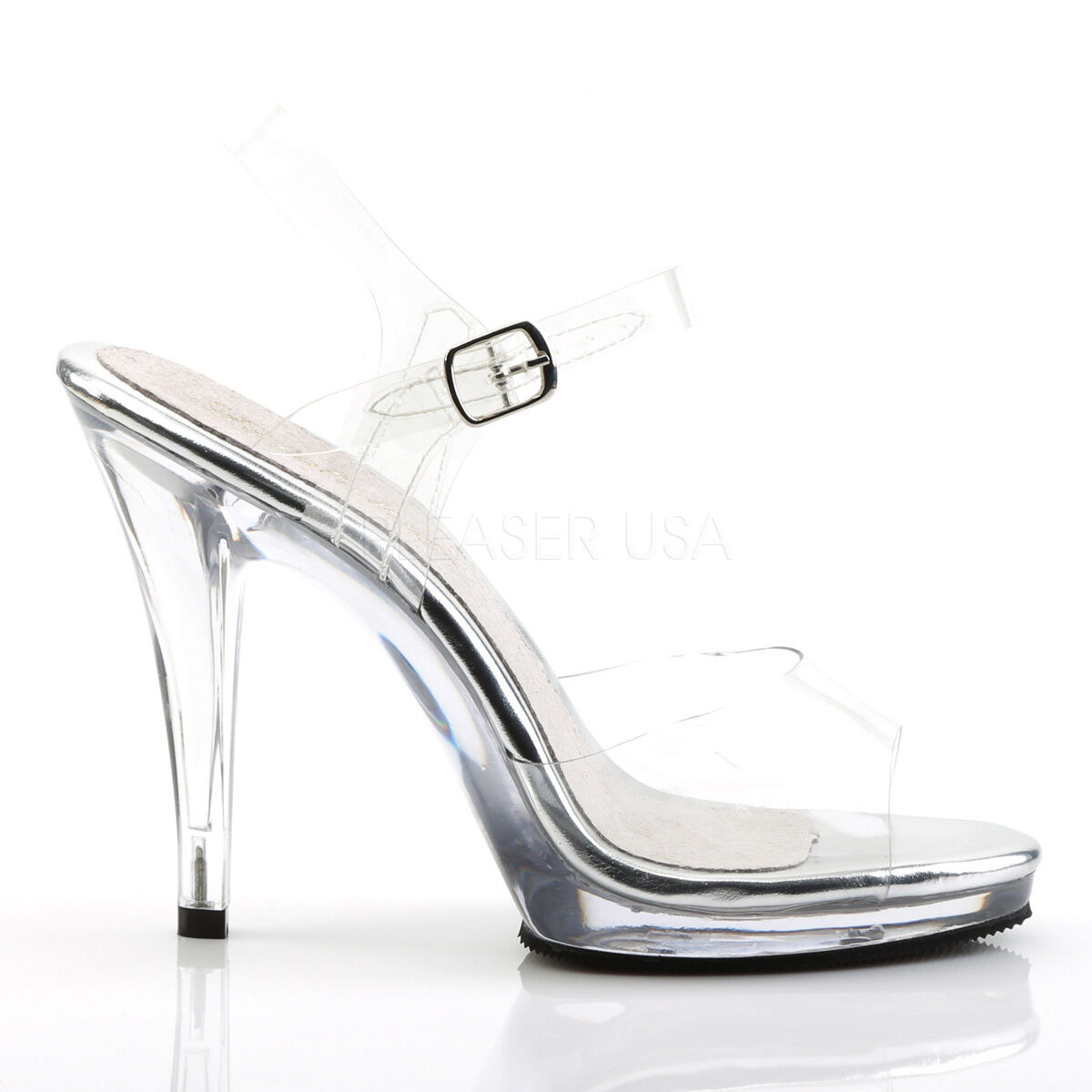 BNIB PLEASER COMPETITION FLAIR 408 CLEAR HEELS Schuhe BIKINI COMPETITION PLEASER STAGE POSING SILVER 15e9d7