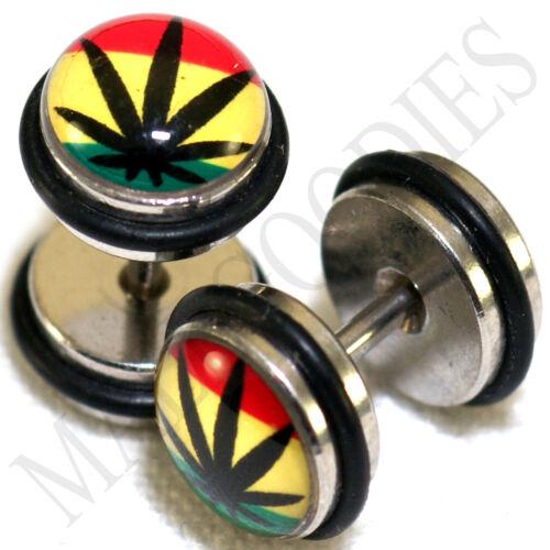 0100 Fake Cheaters Faux Illusion 16G Plugs 0G 8mm Rasta Weed Pot Leaf Marijuana