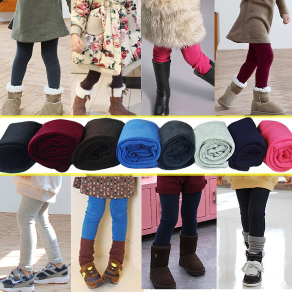 Baby Girls Warm Thick Thermal Winter Colours Leggings Fleece Lined Trousers Pant