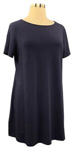 DENIM-amp-CO-Size-L-Blue-Short-Sleeve-Scoop-Neck-Stretch-Knit-Dress