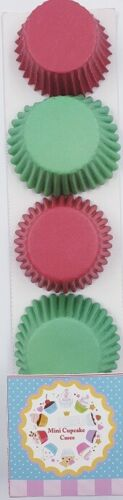 200 CHRISTMAS mini cupcake cases baking muffin cake petits fours RED /& GREEN