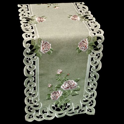 """Embroidered Pink Rose on Gray Linen Polyester Table Runner//Scarf 16/"""" x 70/"""""""
