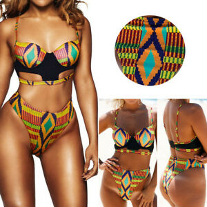 2019-Black-Orange-African-High-Rise-Striped-Cutout-Bra-Bikini-Bathing-Suit-S-XL