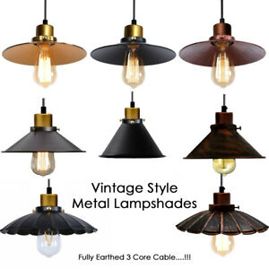 Vintage-Style-Retro-Industrial-Ceiling-Pendant-Light-Lampshade-Metal-Kitchen-Bar