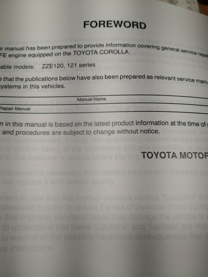 Motorbog, Toyota corolla motorbog