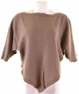 Womens-Knitted-Top-Blouse-Size-12-Medium-Brown-Cashmere-Loose-Fit-JH03