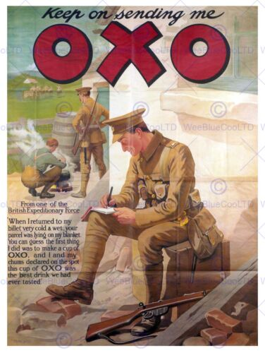 ADVERT OXO FIRST WORLD WAR SOLDIER UK VINTAGE POSTER ART PRINT 12x16 inch 815PY