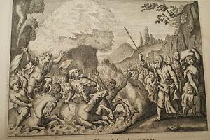 GRAVURE-SUR-CUIVRE-MER-ROUGE-PHARAON-BIBLE-1670-LEMAISTRE-DE-SACY-B35