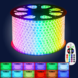 1 15m rf kontroller 230v rgb led stripe 5050smd streifen licht schlauch dimmbar ebay. Black Bedroom Furniture Sets. Home Design Ideas