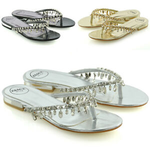 Sandalias-De-Mujer-Flip-Flop-Diamante-Senoras-Brillante-Toe-Post-Holiday-Beach-control-deslizante