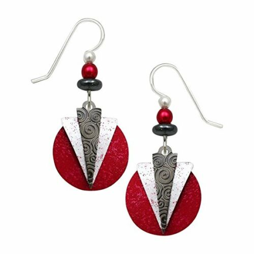 Adajio-Hematite-amp-White-Triangles-over-RED-Disc-EARRINGS-STERLING-Silver-7658