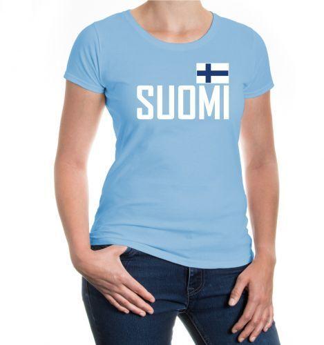 Damen Kurzarm Girlie T-Shirt Finnland Finland Suomi Finlande Trikot Fanshirt