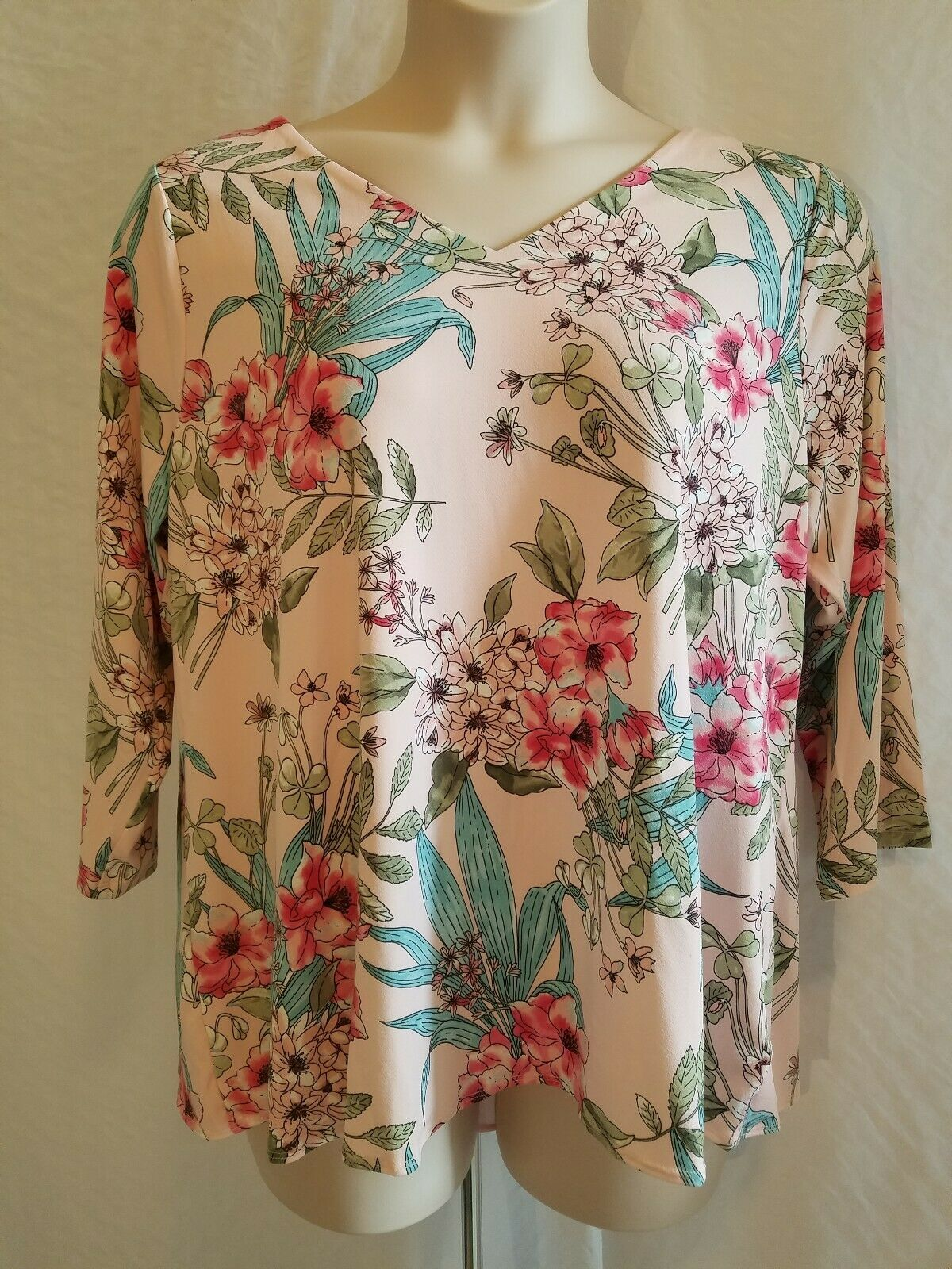 New CHARTER CLUB Woman's Plus Size 1X Floral Print 3 4 Sleeve Pink Blouse Top
