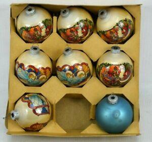 Vintage-Noelle-Glass-Christmas-Ornaments-Quantity-of-8-Angels-Santas-Plain-USA