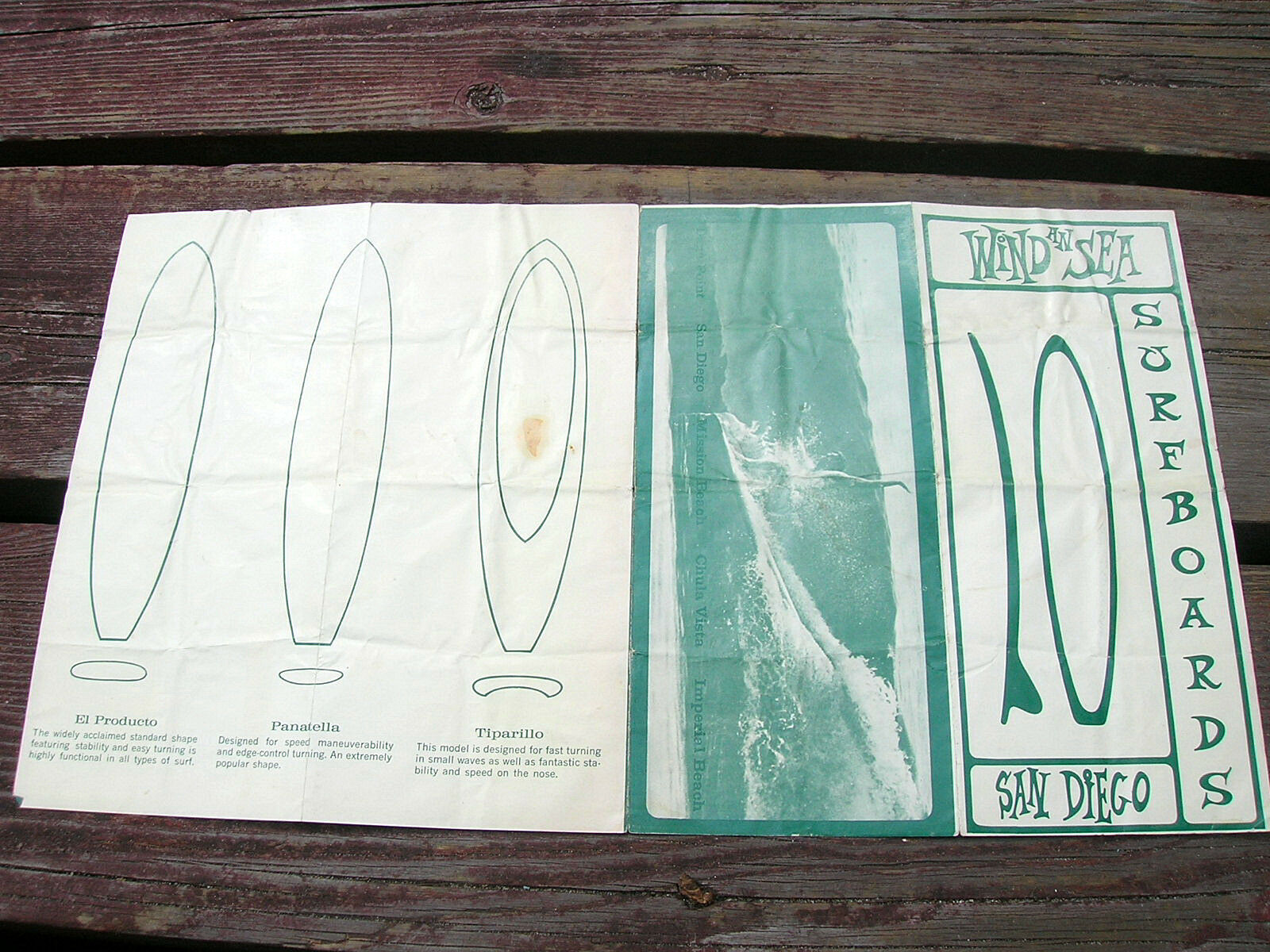 Viento Vintage una lista de precios de tabla de surf mar FOLLETO formulario de pedido 1960s San Diego CA