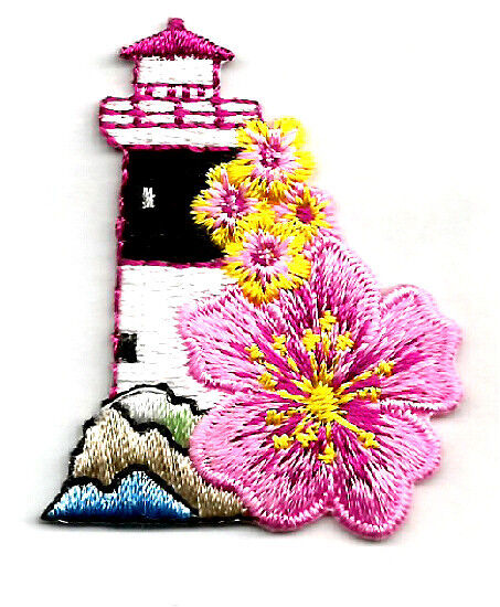 LIGHTHOUSE W/FLOWER EMBROIDERED IRON ON APPLIQUE/PATCH