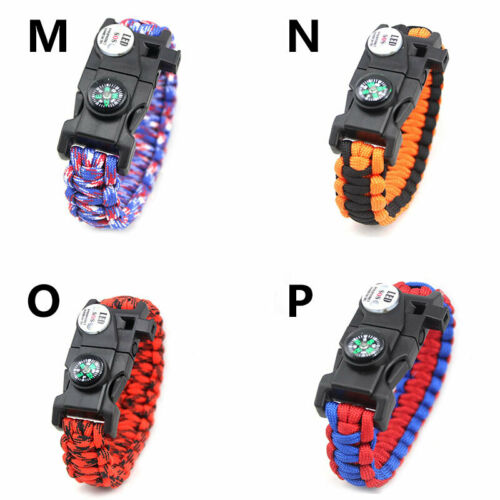 20 in 1 Emergency Survival Paracord Bracelet SOS LED Compass Outdoor 1PC