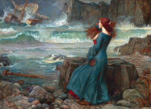 "Waterhouse Woman /& Shipwreck Painting Large 12/"" x 16.6/"" Real Canvas Art Print"