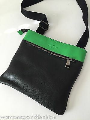 Coach Men's Black Green Leather Bowery Crossbody Messenger Shoulder Bag 71720