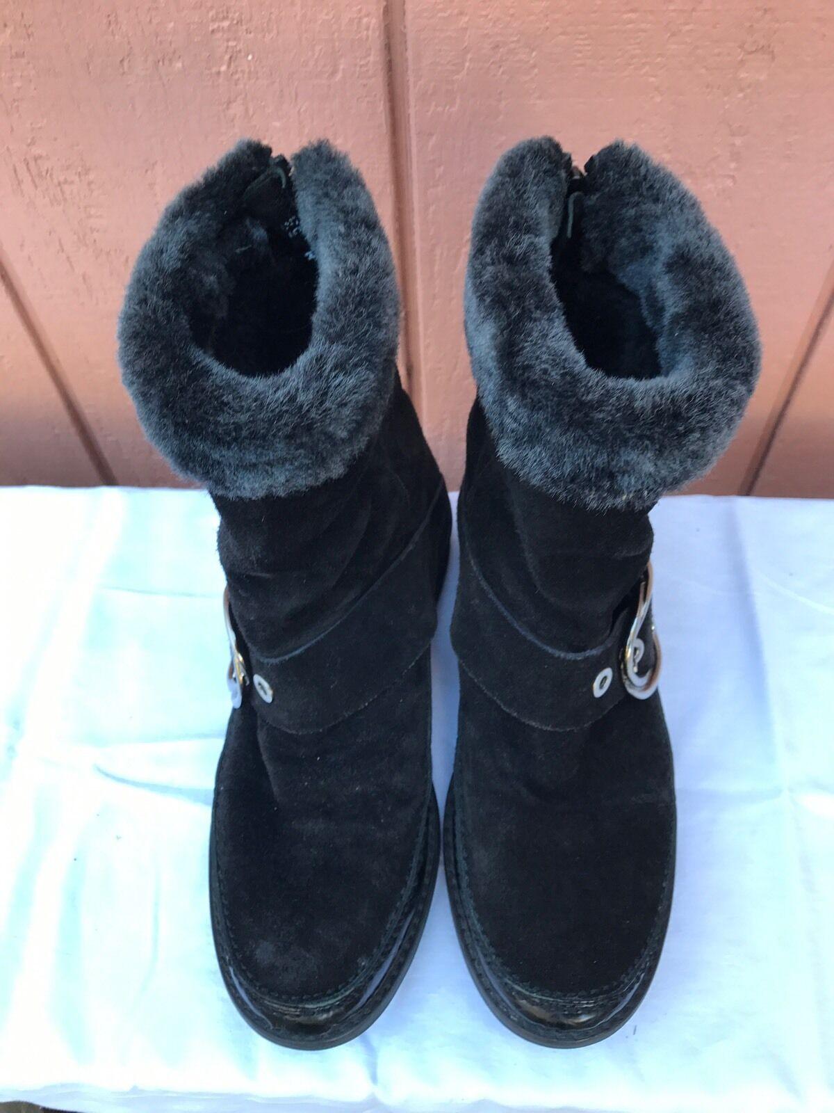0b61bb216c1 EUC 389 STUART WEITZMAN Fur Black Suede Winter Boots Boots Boots ...