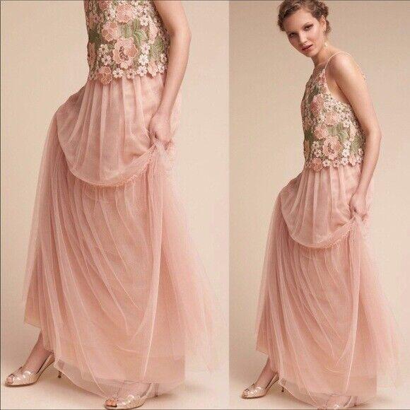 Anthropologie Long pink bluesh Tulle Maxi Skirt, Wispy Boho Skirts, Formal Wear