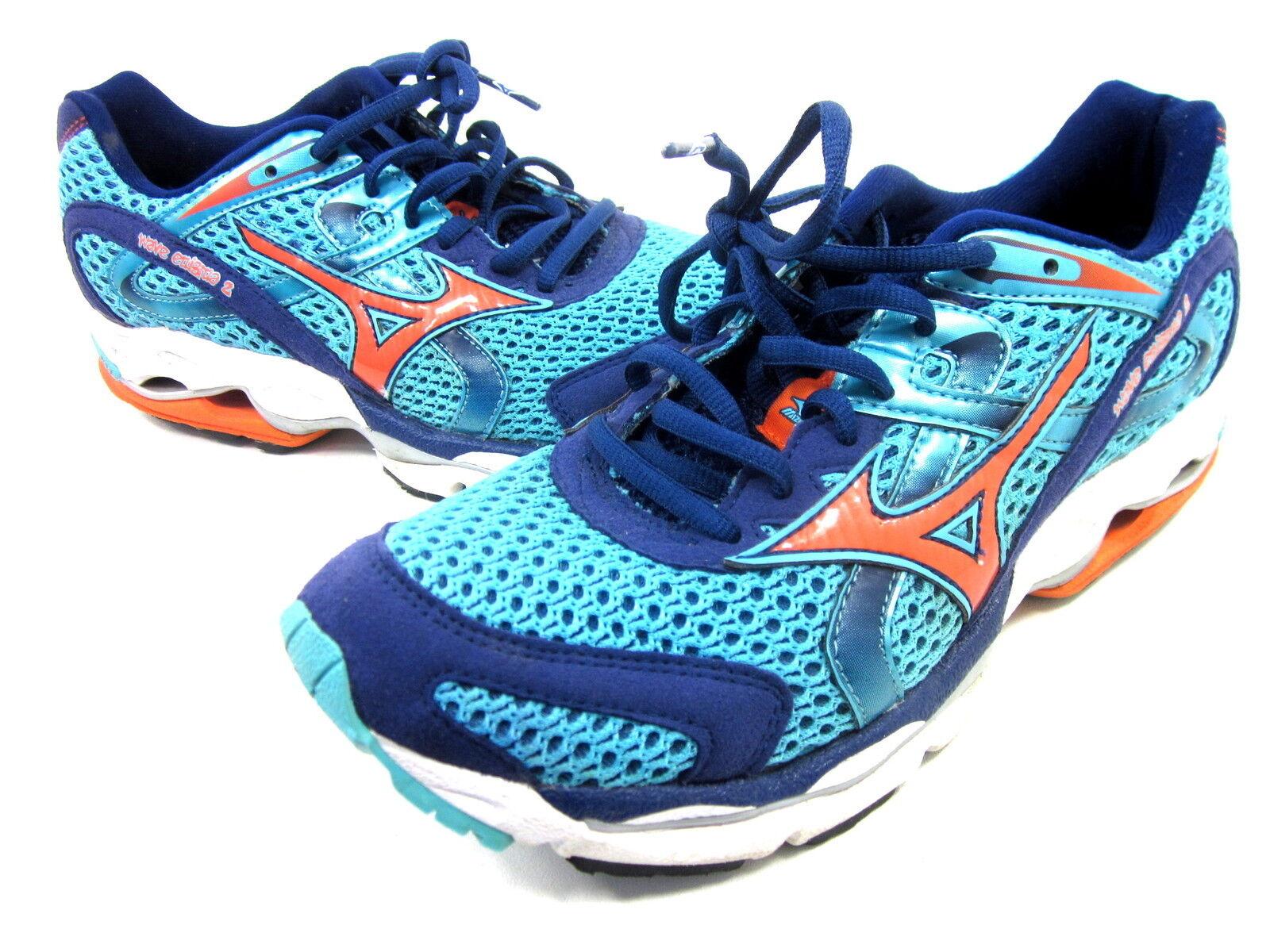 MIZUNO WAVE ENIGMA 2 RUNNING scarpe donna CAPRI EMBER blu blu blu Dimensione 9 B US PRE-OWNED cce156