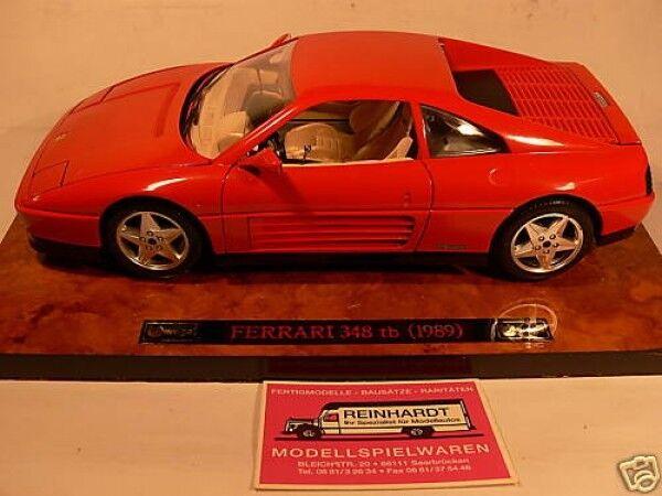 1 18 BURAGO FERRARI 348tb rosso su radice piastra di legno
