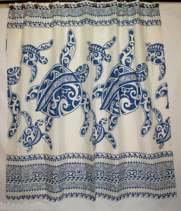 Image Is Loading Hawaiian 100 Polyester Fabric Shower Curtain Blue Sea