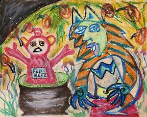 Demise-of-the-Teletubbies-Original-11x14-Painting-Folk-Art-Dark-Humor-CrayPas