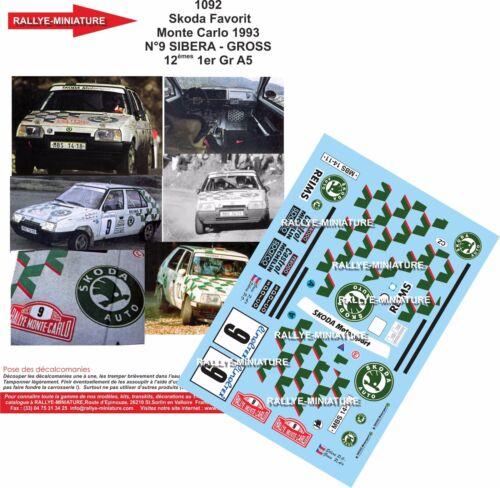 DECALS 1//43 REF 1092 SKODA FAVORIT SIBERA RALLYE MONTE CARLO 1993 RALLY WRC